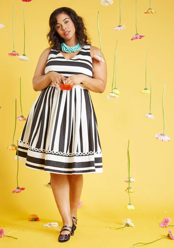 Dynamic Style Devotion A-Line Dress by ModCloth - Black, White, Stripes, Print, Work, Casual, Daytime Party, Vintage Inspired, 60s, Fit & Flare, Sleeveless, Spring, Summer, Woven, Exceptional, Exclusives, Private Label, Long, ModCloth Label, Store 1, Pockets