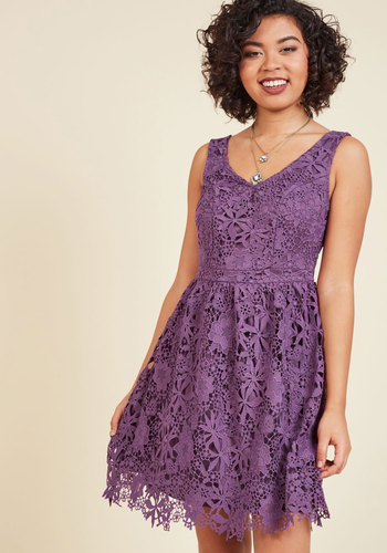 Dreams of Decadence Lace Dress in Violet - Purple, Solid, Party, A-line, Knit, Lace, Better, Exclusives, V Neck, Lace, Special Occasion, Prom, Cocktail, Girls Night Out, Holiday Party, Graduation, Valentine's, Homecoming, Wedding Guest, Vintage Inspired, 50s, Fit & Flare, Spaghetti Straps, Fall, Winter, Mid-length