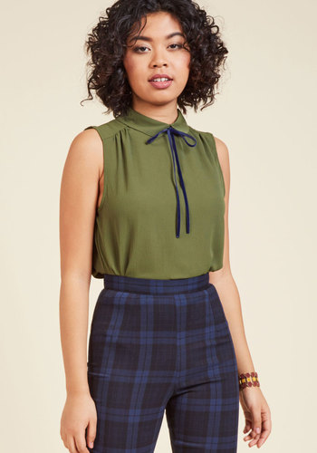 Vintage & Retro Shirts, Halter Tops, Blouses and more Feedback At It Sleeveless Top in Olive $39.99 AT vintagedancer.com