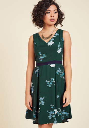 Flair and Back Floral Dress in Forest - Green, Blue, Floral, Print, Work, Daytime Party, Fit & Flare, Sleeveless, Fall, Woven, Better, Mid-length