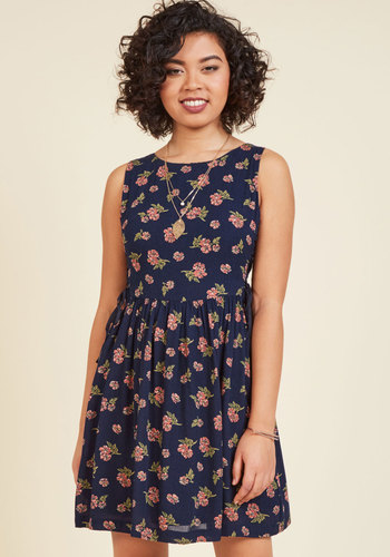 To Be in Your Essence Floral Dress in Navy - Blue, Pink, Floral, Print, Casual, Sundress, Boho, A-line, Sleeveless, Fall, Woven, Good, Mid-length