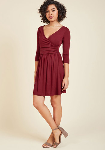 Everywhere You Flow Jersey Dress in Cranberry - Mid-length, Variation, Red, Solid, Work, Casual, Valentine's, Minimal, A-line, Wrap, 3/4 Sleeve, Fall, Winter, V Neck