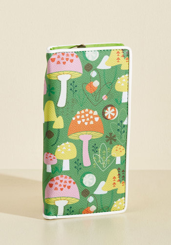 Amanita Know Where You Found That Wallet - Green, Multi, Other Print, Work, Casual, Mushrooms, Quirky, Spring, Better