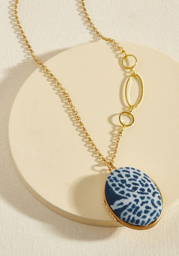 Stow and Behold Necklace by Lenora Dame - Blue, Work, Casual, Daytime Party, Spring, Gold, Better