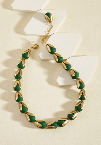 Budding Brilliance Necklace by Lenora Dame - Blue, Gold, Statement, Spring, Gold, Better