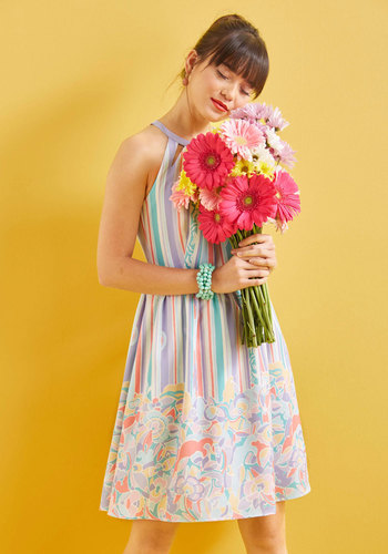 Behold the Blogger Dress by ModCloth - Stripes, Special Occasion, Party, Daytime Party, Graduation, Vintage Inspired, A-line, Fit & Flare, Halter, Spring, Summer, Best, Exclusives, Halter, ModCloth Label, Woven, Long, Pastel, Store 1, Pockets