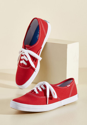 It's Been Too Longboard Sneaker in Red by Keds - Red, Solid, Casual, Nautical, Lace Up, Low, 90s, Summer, Americana