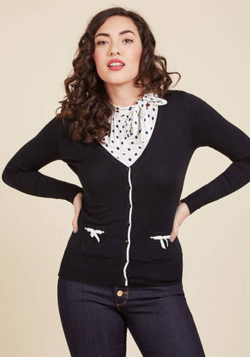 1950s Style Sweaters, Crop Cardigans, Twin Sets Flawlessly Polished Cardigan in Black $44.99 AT vintagedancer.com