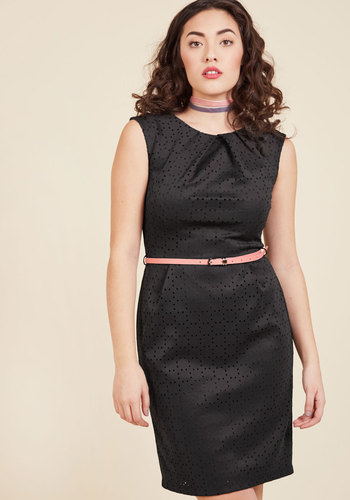 1950s Swing Dresses Teaching Classy Sheath Dress in Black Lasercuts $64.99 AT vintagedancer.com