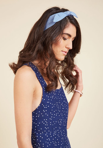 Shop 1950s Hair Accessories Tie Will Tell Headband in Sky Gingham $12.99 AT vintagedancer.com