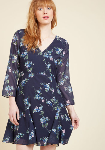 Epitome of Proper Floral Dress by Wendy Bird - Blue, Green, White, Floral, Work, Holiday Party, Daytime Party, Boho, Quirky, A-line, Wrap, Long Sleeve, Spring, Summer, Fall, Winter, Best, Exclusives, Woven