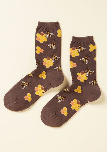 What's the Buzz? Socks in Brown - Brown, Yellow, Print with Animals, Casual, Quirky, Critters, Spring, Good, Brown, Saturated