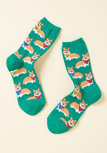 Corgi, Fi, Fo, Fum Socks in Emerald