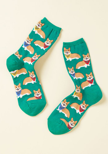 Corgi, Fi, Fo, Fum Socks in Emerald - Green, Orange, Print with Animals, Casual, Quirky, Dog, Spring, Good, Green, Saturated