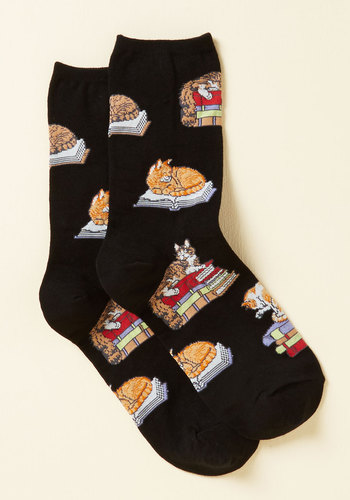 Kitten the Books Socks - Black, Orange, Brown, Print with Animals, Casual, Quirky, Cats, Spring, Good, Black, Black