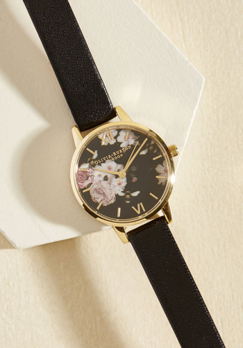 Perennially Punctual Watch - Midi by Olivia Burton - Luxe Gifts, Black, Gold, Floral, Work, Luxe, Gold, Spring