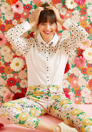 1960s Fashion: What Did Women Wear? Bliss in Bloom Button-Up Top $59.99 AT vintagedancer.com