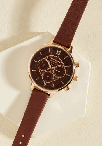 Key to Punctuality Watch in Mocha & Rose Gold - Big by Olivia Burton - Luxe Gifts, Gold