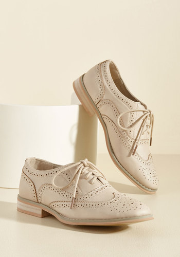Retro & Vintage Style Shoes Talking Picture Oxford Flat in Biscuit $49.99 AT vintagedancer.com