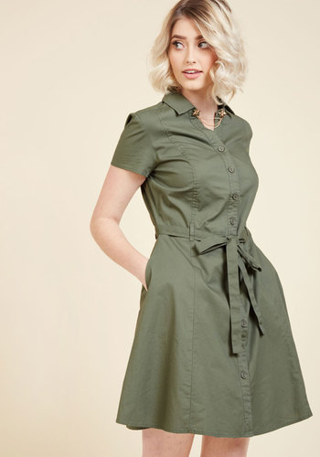 Smoothie Enthusiast A-Line Dress in Olive