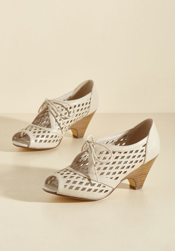 1940s Womens Shoe Styles Perf Your While Peep Toe Heel in Ivory $69.99 AT vintagedancer.com