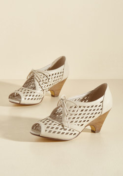 Perf Your While Peep Toe Heel in Ivory