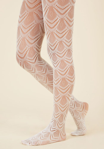 1930s Stockings, Nylons, Tights & Socks Fan the Fame Tights in White $14.99 AT vintagedancer.com