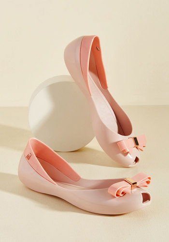 1960s Style Shoes Bow Out of Your Way Peep Toe Flat in Pink $74.99 AT vintagedancer.com