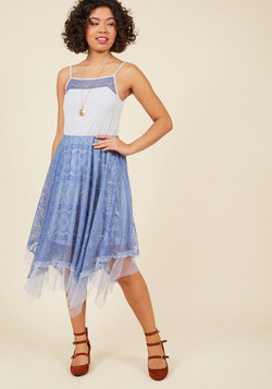 Long Time No Whimsy Lace Dress in Cornflower