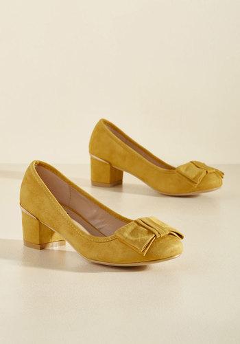 1960s Style Shoes Go for Glam Vegan Heel in Marigold $49.99 AT vintagedancer.com