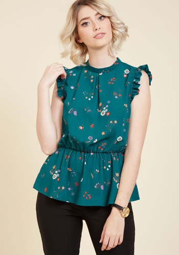 Peplum Professional Sleeveless Top in Teal Flowers