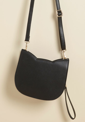 No Hard Felines Bag in Black - Faux Leather, Black, Solid, Cats, Variation, Party, Quirky, Fall, Winter, Best Seller, Best Seller