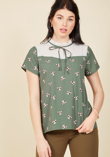 1930s Style Tops, Blouses & Sweaters Pup-to-Date Top $44.99 AT vintagedancer.com