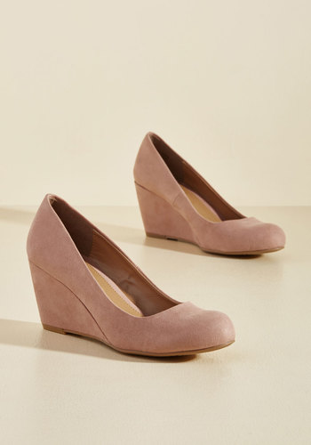 1940s Womens Shoe Styles Find Your Feat Wedge in Rose $49.99 AT vintagedancer.com