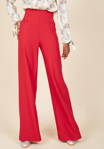 1940s Style Pants & Overalls- Wide Leg, High Waist Serving Up Verve Pants $69.99 AT vintagedancer.com