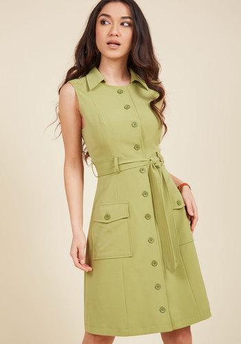 1960s Plus Size Dresses & Retro Mod Fashion Engaging Editorialist Shirt Dress in Pear $89.99 AT vintagedancer.com