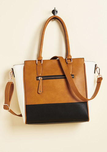 Triple the Charm Bag in Cognac - Tan, Black, White, Solid, Work, Colorblocking, Better, Faux Leather, Social Placements, Fall, Spring, Gals, Gifts2015, Top Rated, 70s, Best Seller, Best Seller, Tis the Season Sale