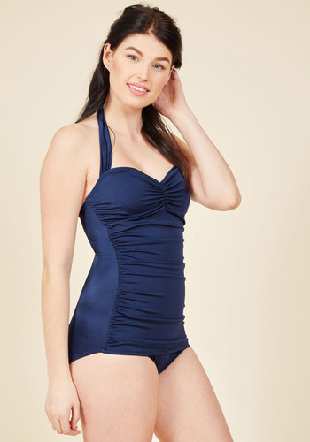1940s Style Swimsuits Bathing Beauty One-Piece Swimsuit in Navy $89.99 AT vintagedancer.com