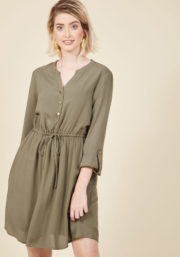 Kheer to Join Us? Shirt Dress in Cardamom - Mid-length, Buttons, Work, Casual, Military, Urban, Minimal, A-line, 3/4 Sleeve, Fall, V Neck, Green, Belted, Shirt Dress