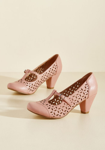 1930s Style Shoes Opting for Intrigue T-Strap Heel in Petal $69.99 AT vintagedancer.com