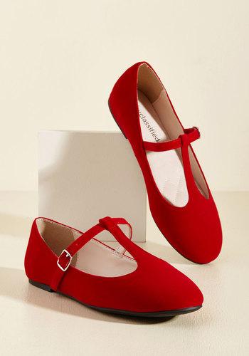 1950s Style Shoes Toe-Tap In Velvet Flat in Rouge $34.99 AT vintagedancer.com