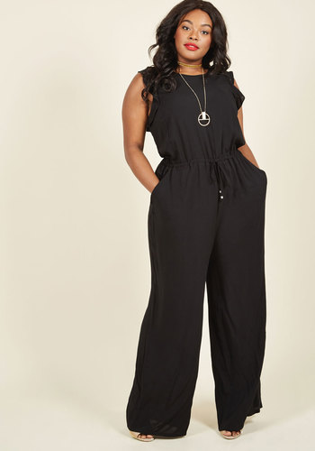 1950s Style Pants One Step to Winsome Jumpsuit in Black $74.99 AT vintagedancer.com