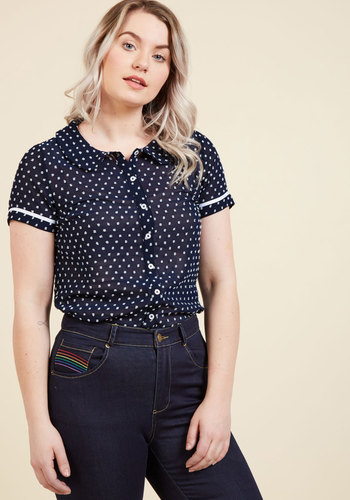 1940s Blouses and Tops Darling in Dots Button-Up Top in Navy $44.99 AT vintagedancer.com