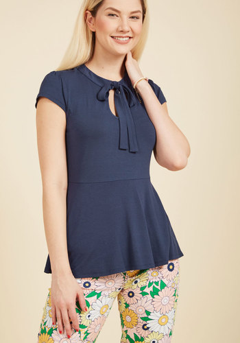 1930s Style Tops, Blouses & Sweaters Feeling Feminine Knit Top in Navy $34.99 AT vintagedancer.com