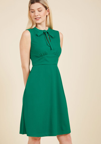 1960s Style Dresses- Retro Inspired Fashion Archival Arrival A-Line Dress in Clover $89.99 AT vintagedancer.com
