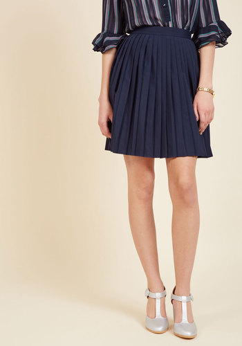 1960s Style Skirts Pleats as Punch A-Line Skirt in Navy $49.99 AT vintagedancer.com