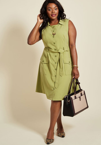1960s Style Dresses- Retro Inspired Fashion Engaging Editorialist Shirt Dress in Pear $89.99 AT vintagedancer.com