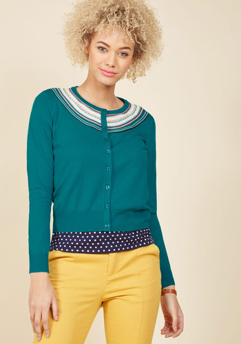 1950s Style Sweaters, Crop Cardigans, Twin Sets A Touch of Terrific Cardigan in Teal $69.99 AT vintagedancer.com