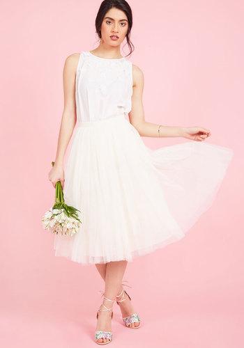 1960s Style Wedding Dresses Your Own Merits Midi Skirt in Ivory $175.00 AT vintagedancer.com