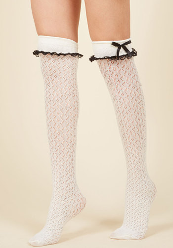 Steampunk Tights  & Socks Flirty Tricks Thigh Highs in Ivory $12.99 AT vintagedancer.com